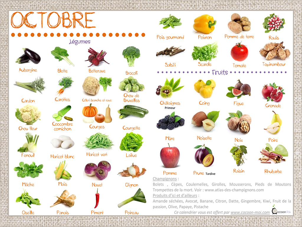 le calendrier des fruits et l gumes d octobre eat me veggie. Black Bedroom Furniture Sets. Home Design Ideas
