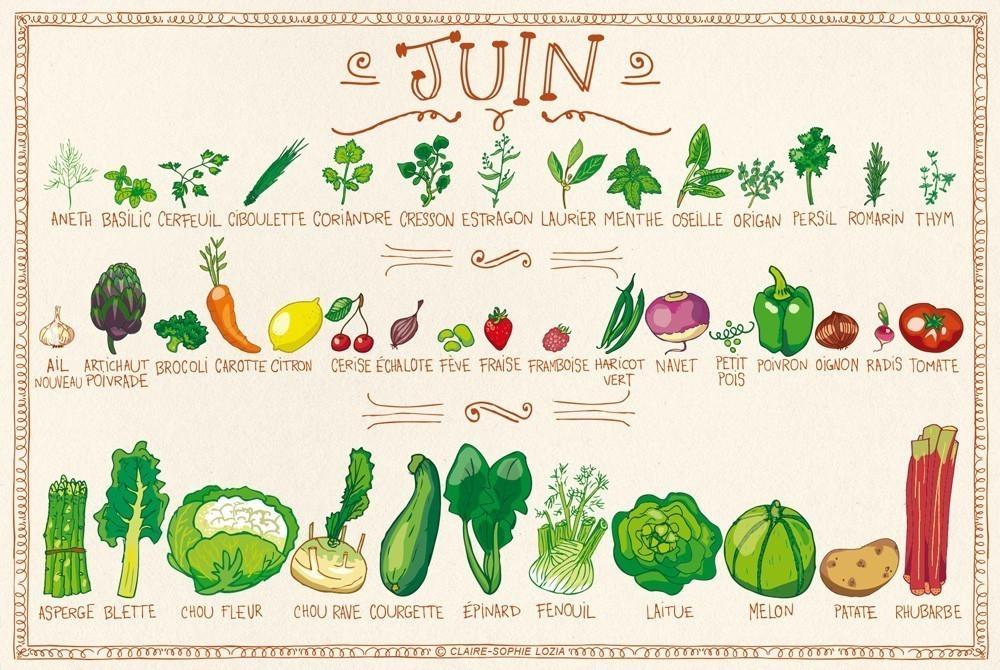 fruits et légumes calendrier juin