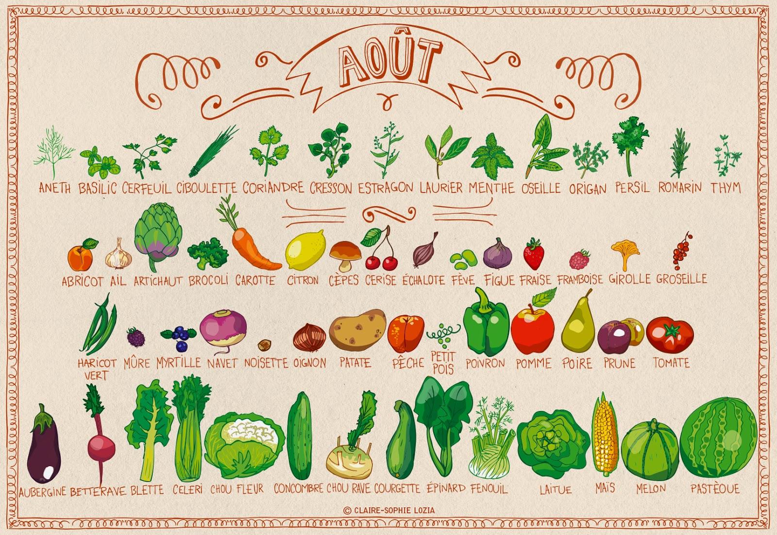légumes et fruits saison aout