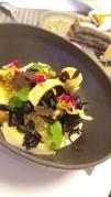 Risotto de celeri au parmesan, mousseron et girolles; artichaud, oxalys